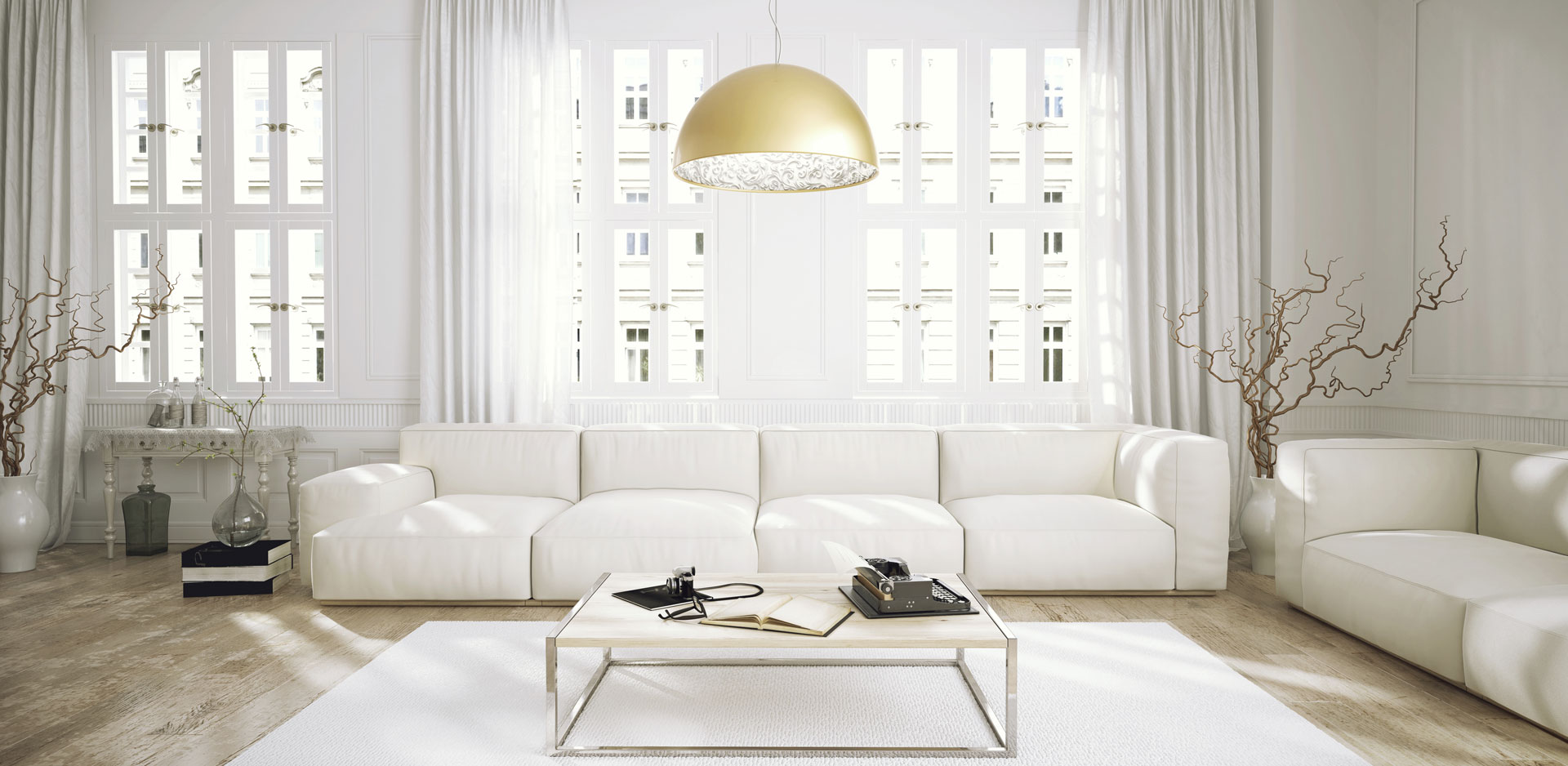 Clean white living room space apartment